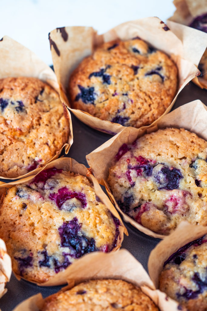 double berry muffins close up