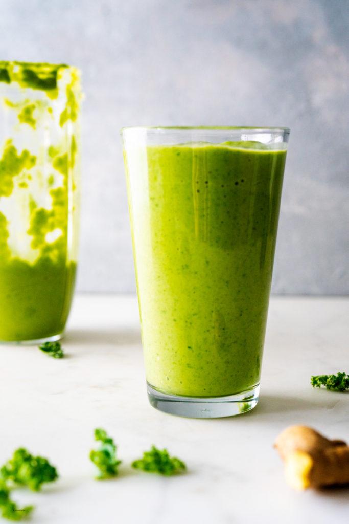 creamy kale avocado smoothie close up