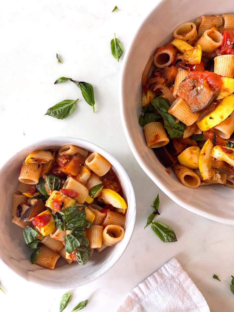 bowl of healthy summer pasta