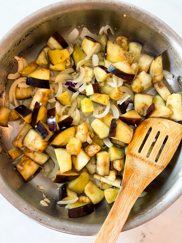 onion and eggplant for sauce of healthy summer pasta